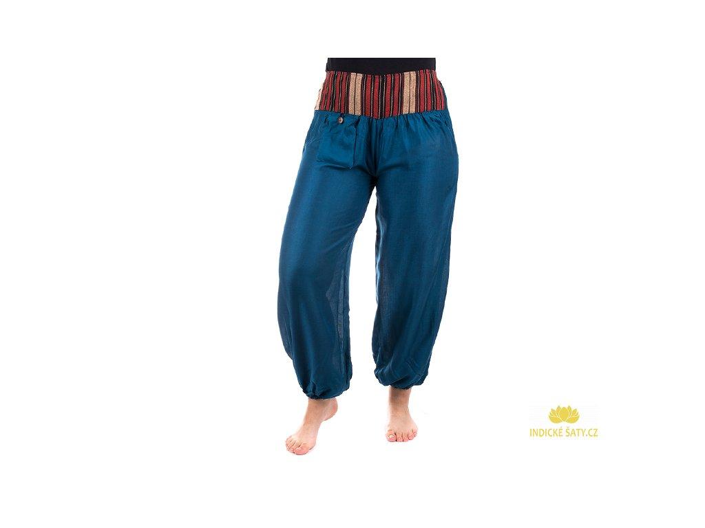 Pohodlné etno kalhoty se tkaným pasem mořsky modré