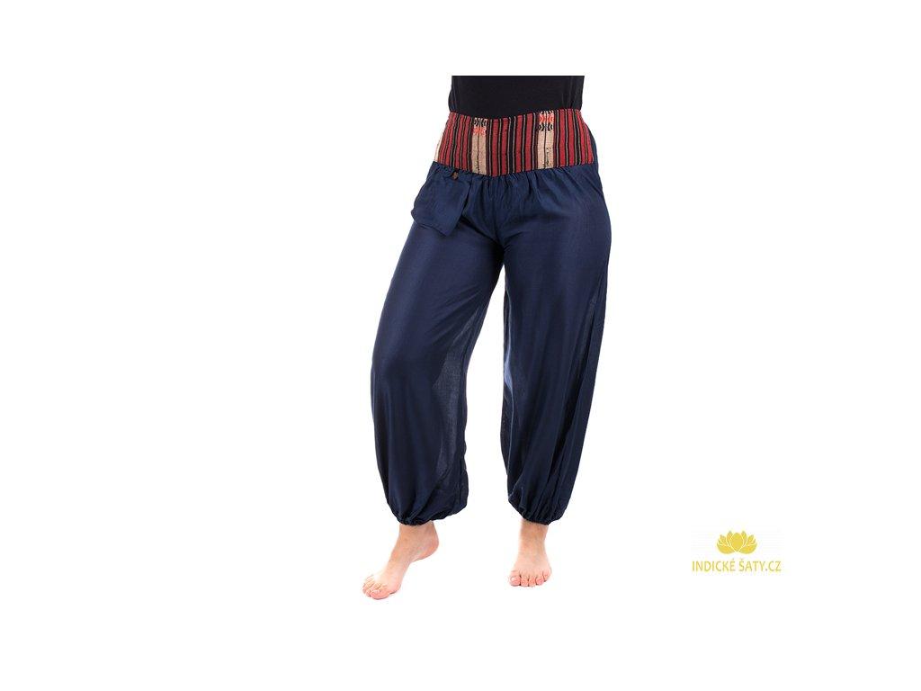 Pohodlné etno kalhoty se tkaným pasem tmavomodré