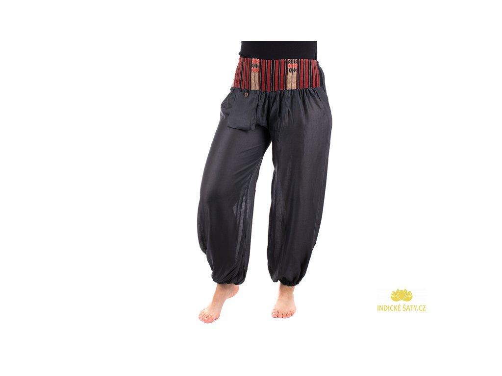Pohodlné etno kalhoty se tkaným pasem ocelově šedé