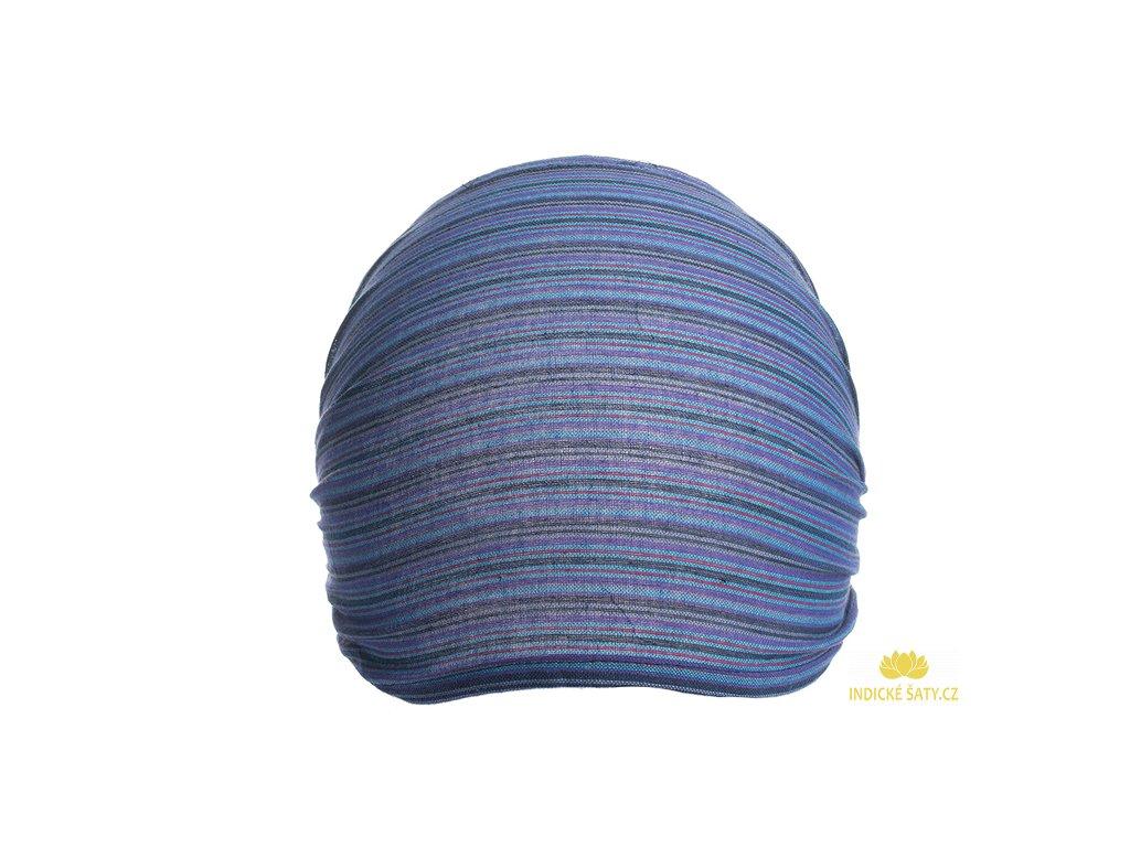 Šátek do vlasů pruhovaný modrofialový