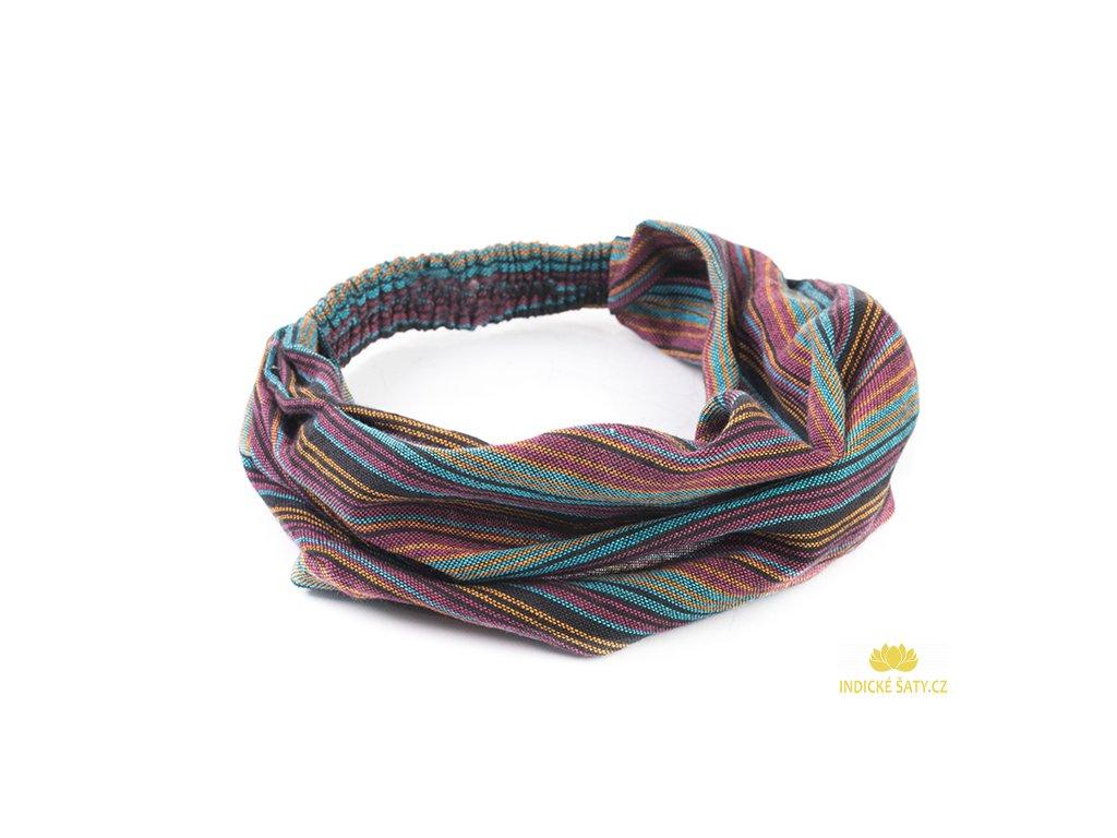 Šátek do vlasů pruhovaný modropurpurový