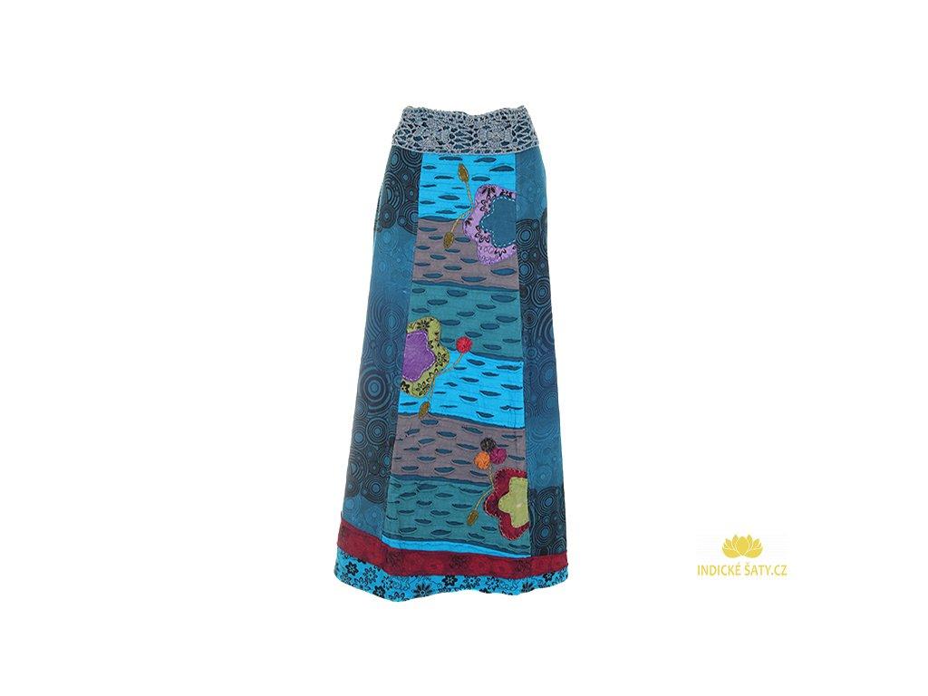 Dlouhá bavlněná etno sukně modrá