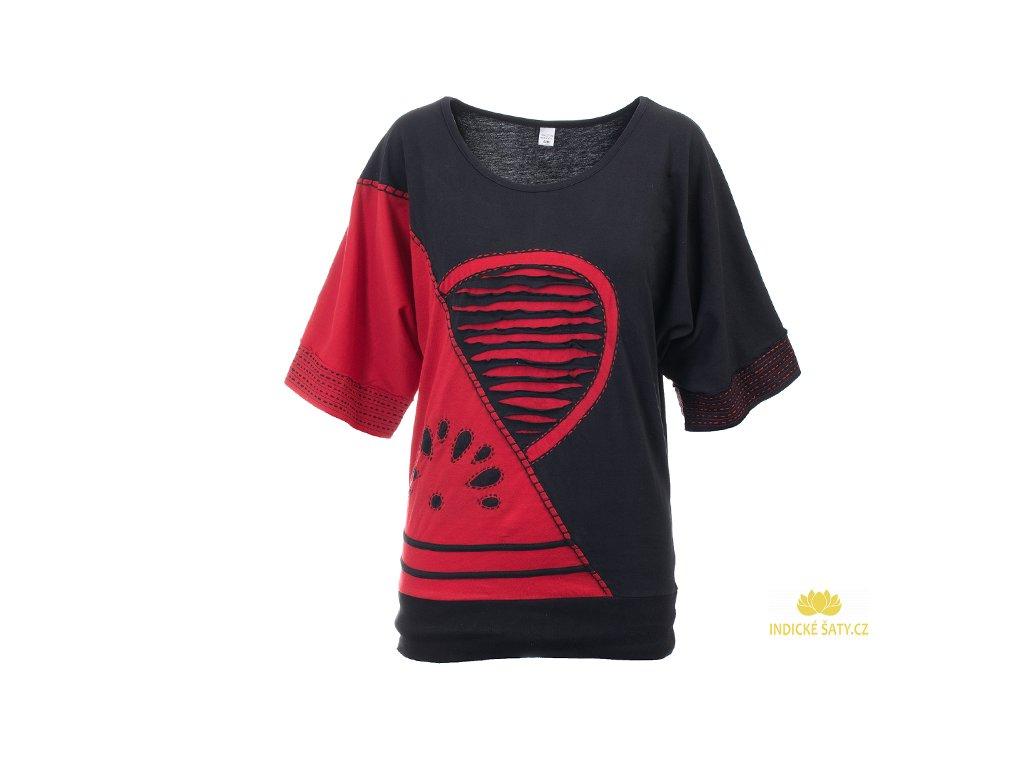 Originální dvoubarevná halenka černočervená