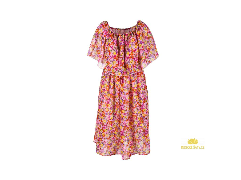 Krátké šifonové šaty světlé květinové