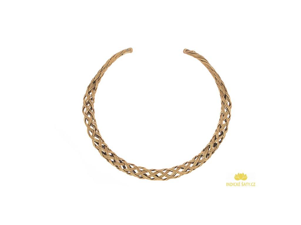 Kovový etno náhrdelník proplétaný ve zlaté