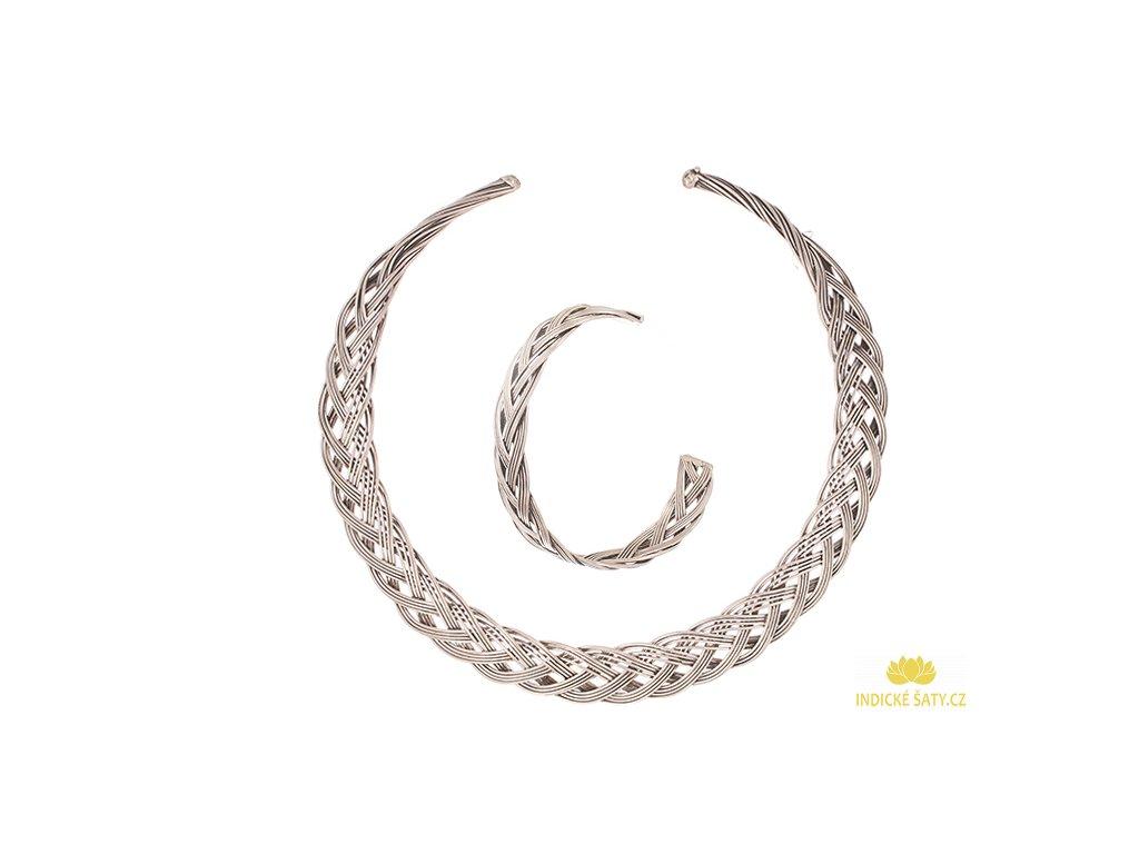 Set kovového etno náhrdelníku a náramku ve stříbrné