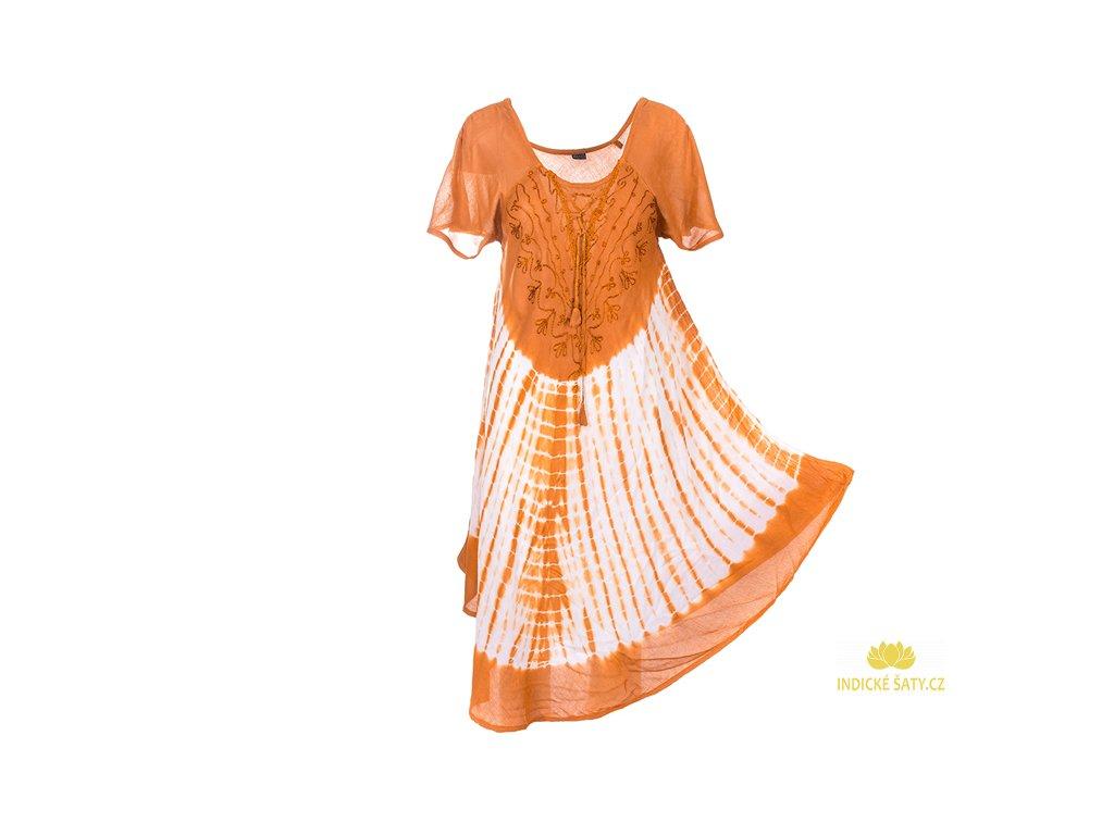 Batikované šaty s rukávky a šněrováním světle hnědé