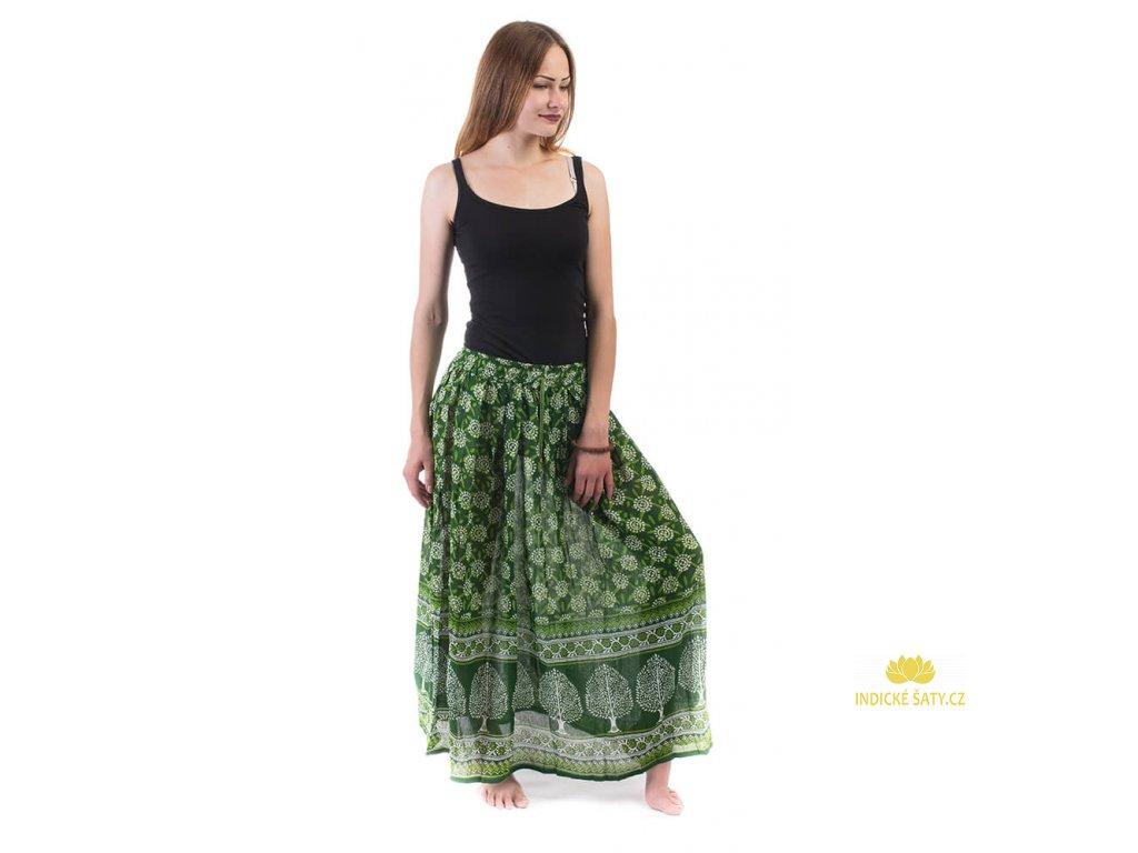 Dlouhá indická sukně zelená se stromy
