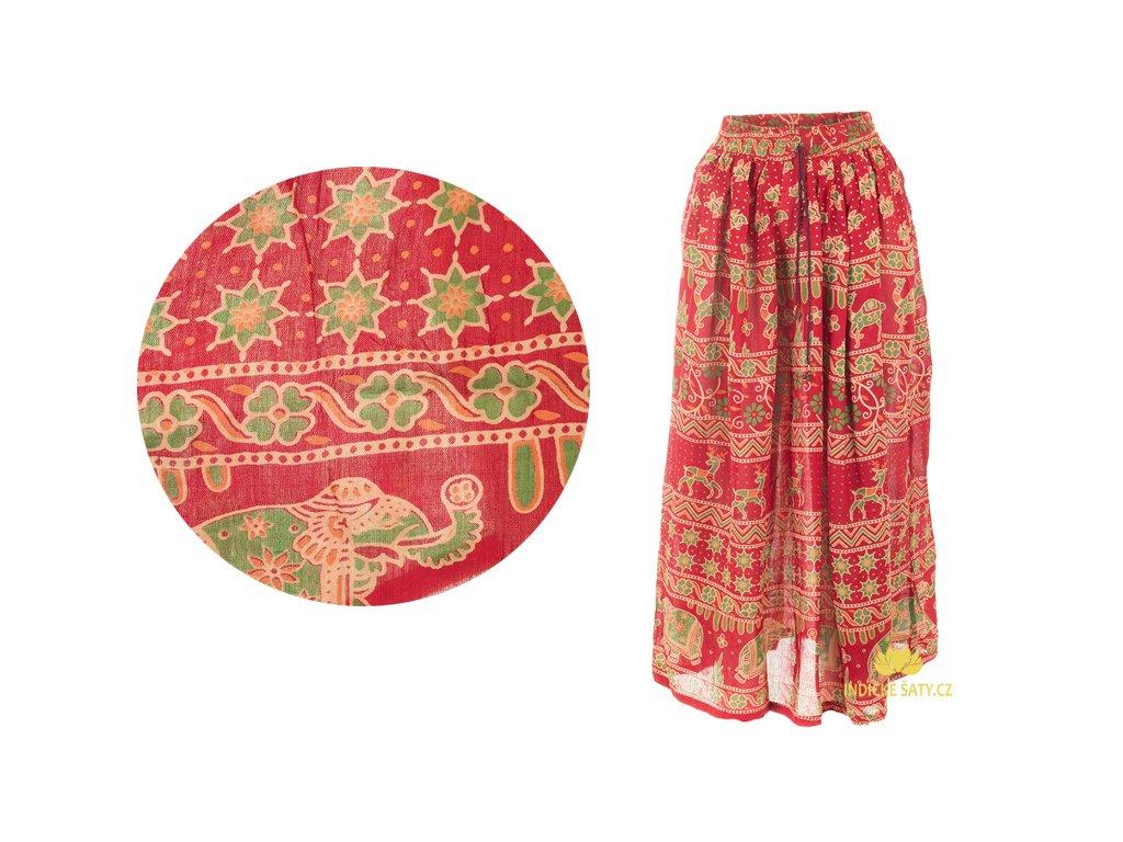 Dlouhá sukně z Indie červená