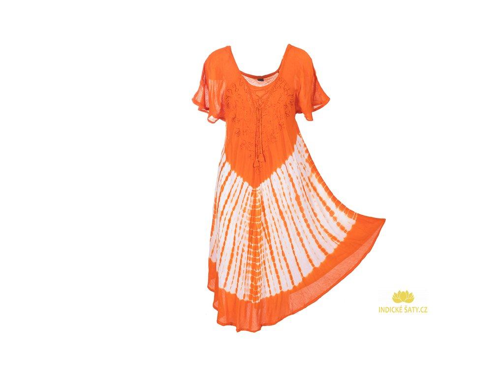 Batikované šaty s rukávky a šněrováním oranžové