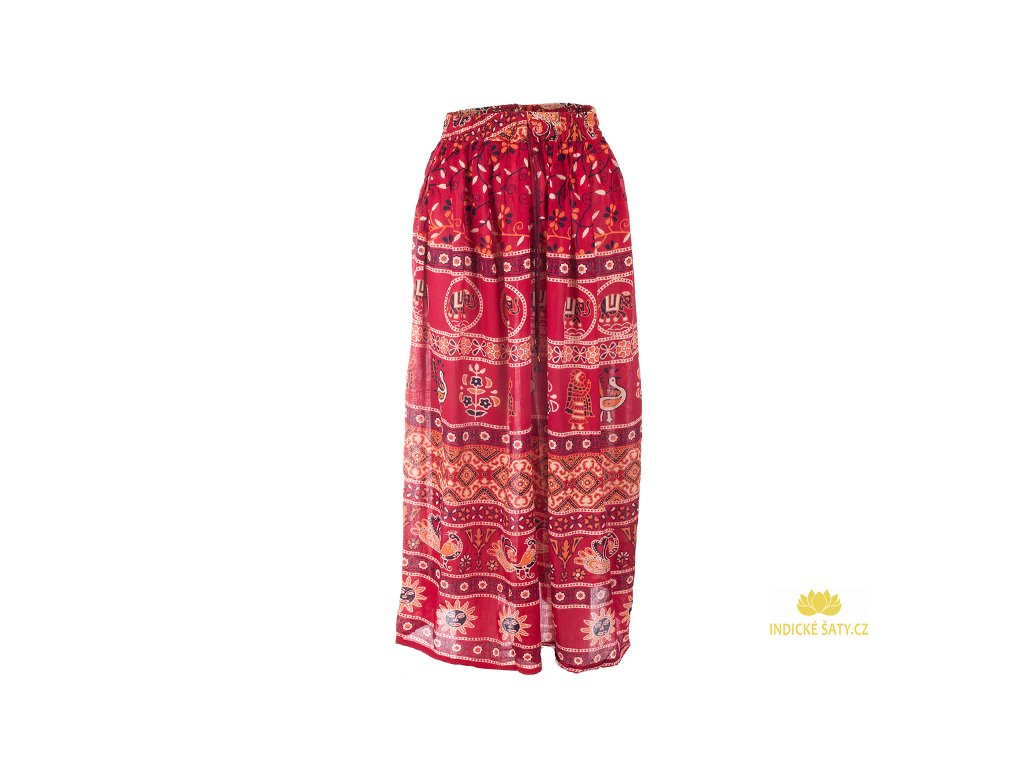 Dlouhá sukně z Indie červená s pávy
