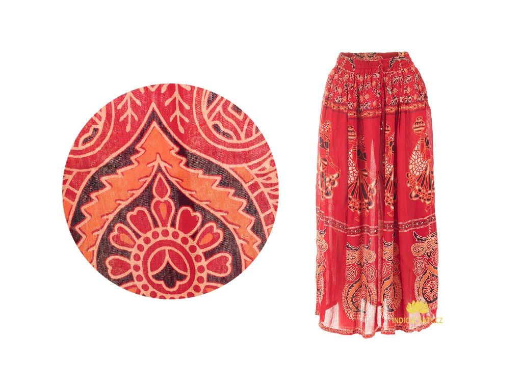 Dlouhá sukně z Indie červená s tanečnicemi
