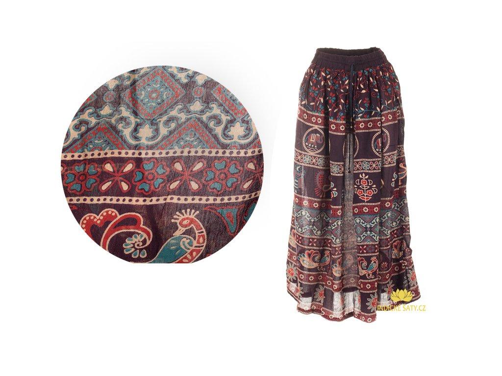 Dlouhá sukně z Indie mahagonová