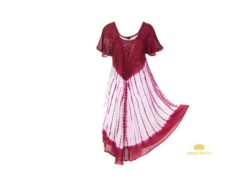 Batikované šaty s rukávky a šněrováním vínové