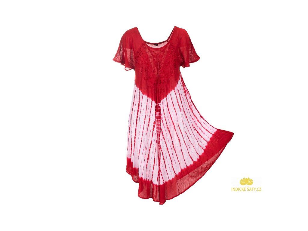 Batikované šaty s rukávky a šněrováním červené