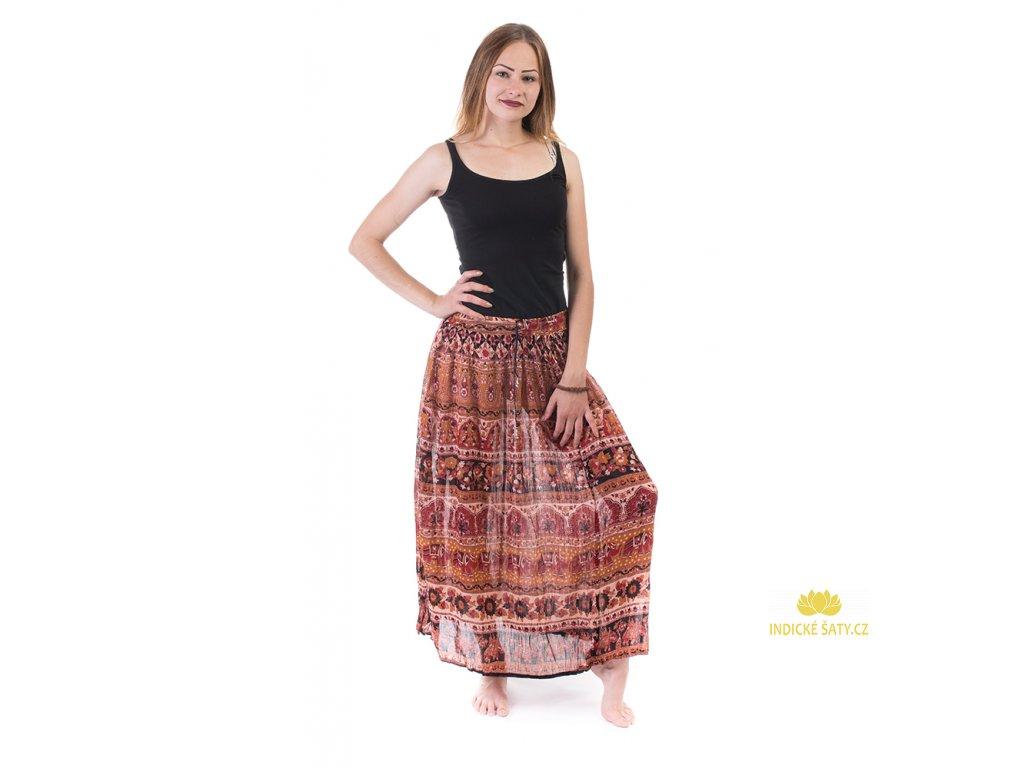 Lehounká indická sukně okrovočervená
