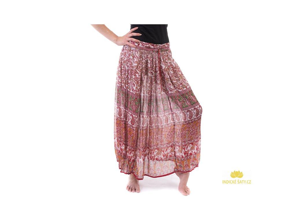 Lehounká indická sukně bíločervená