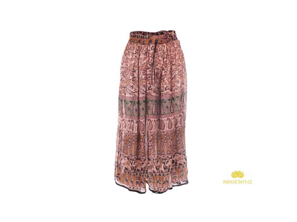Lehounká indická sukně krémovozelená