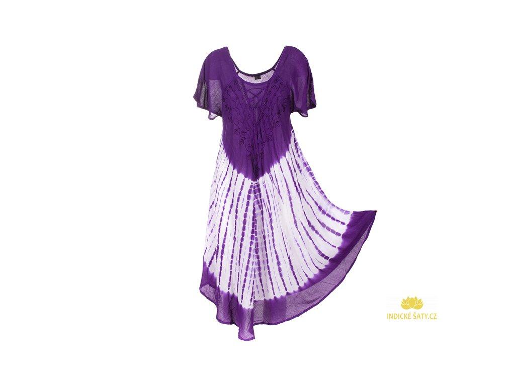 Batikované šaty s rukávky a šněrováním fialové