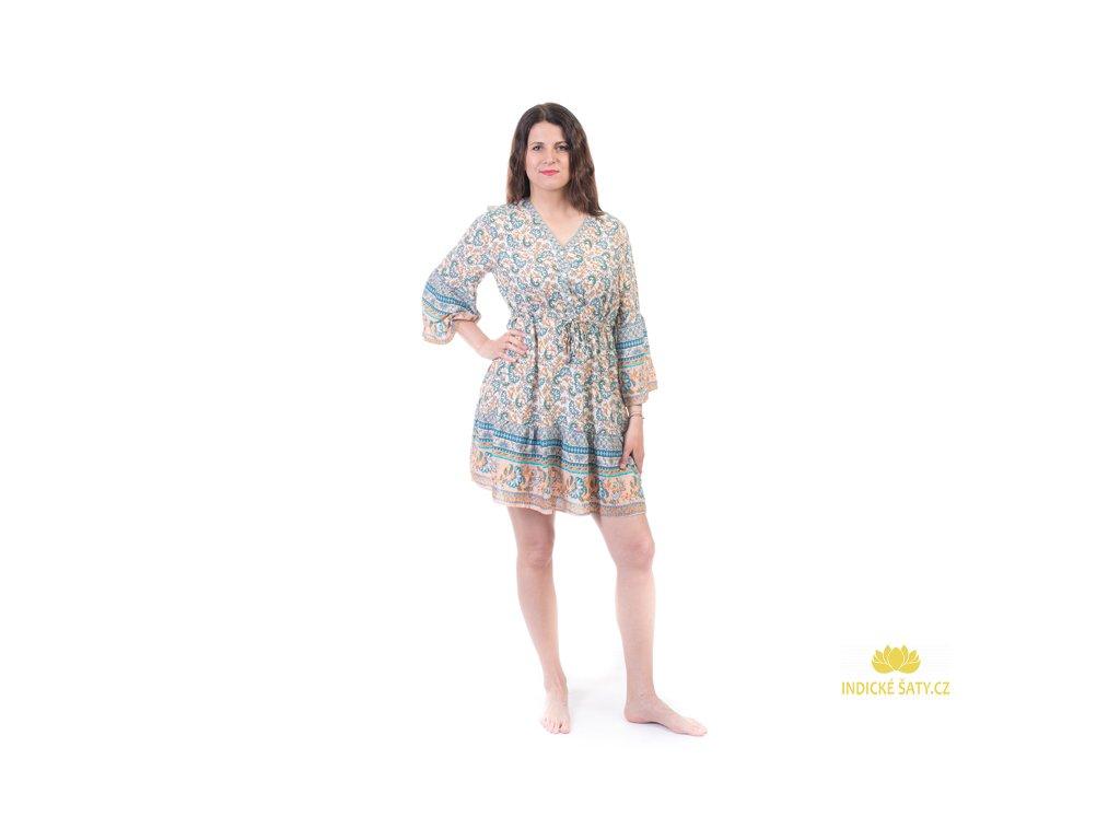 Krátké šaty s orientálním vzorem béžovomodré