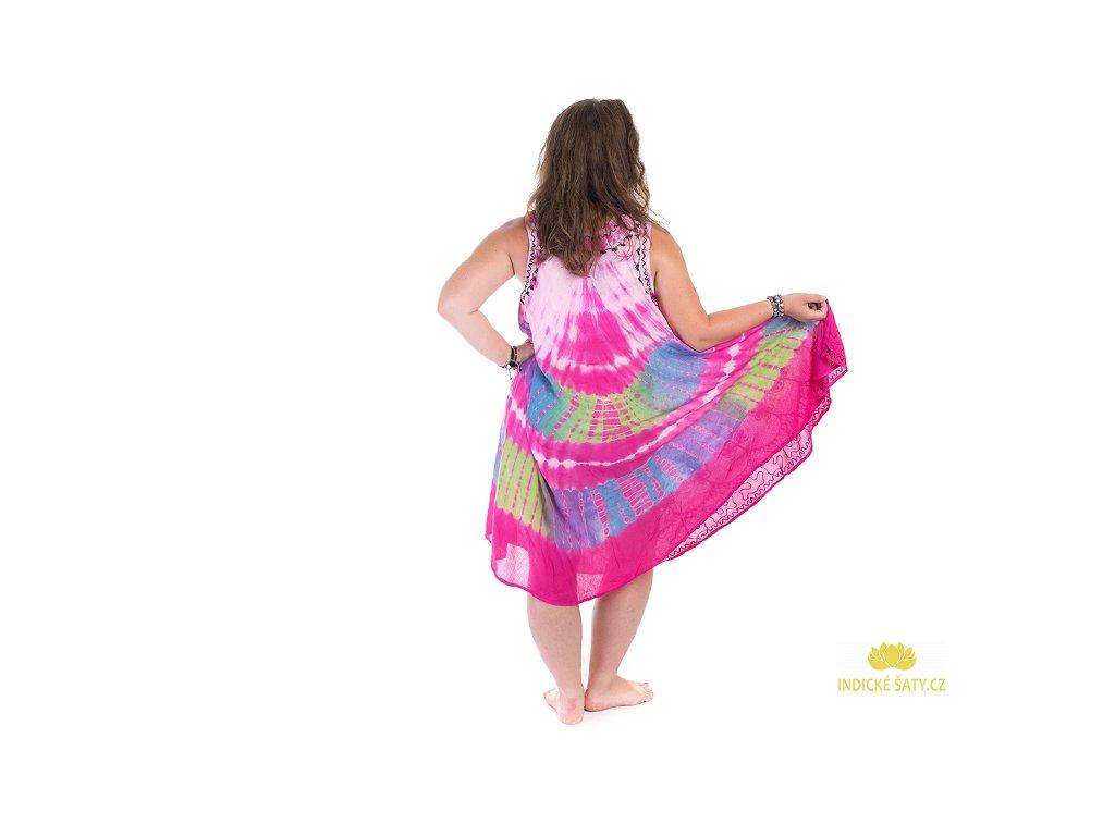Fuchsiové batikované šaty s výšivkou