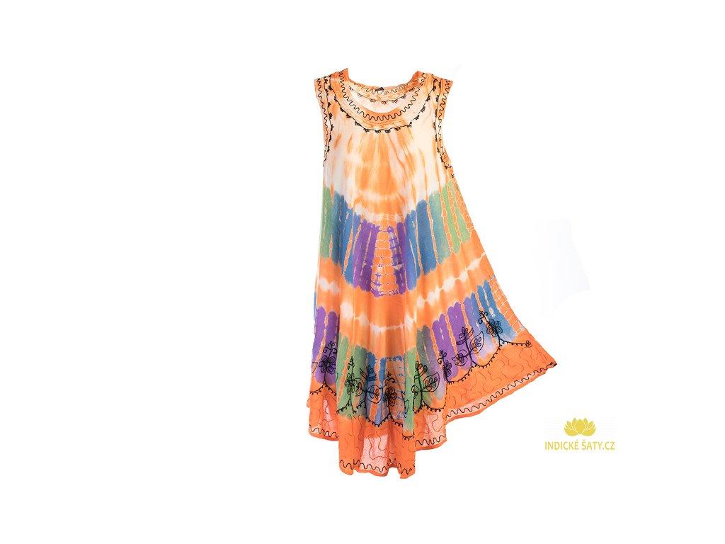 Oranžové batikované šaty s výšivkou