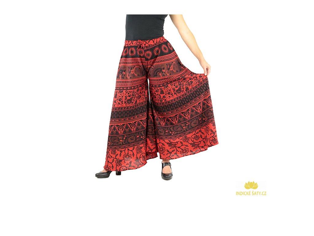 Dlouhé boho kalhoty s ručním tiskem červené