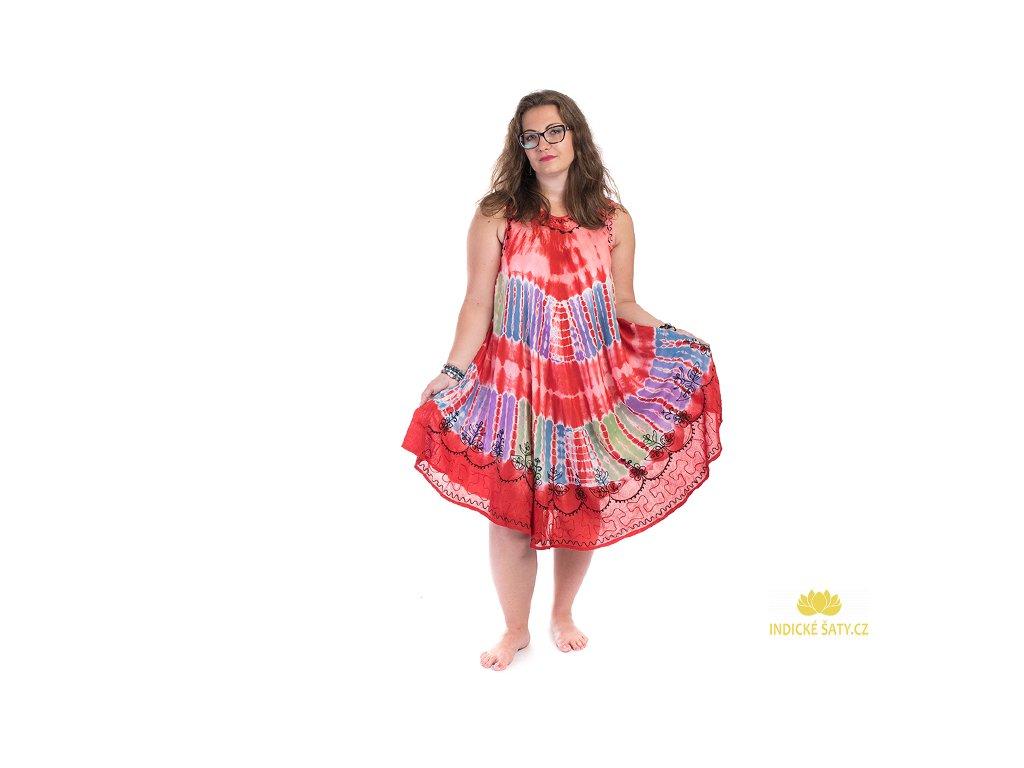 Červené batikované šaty s výšivkou