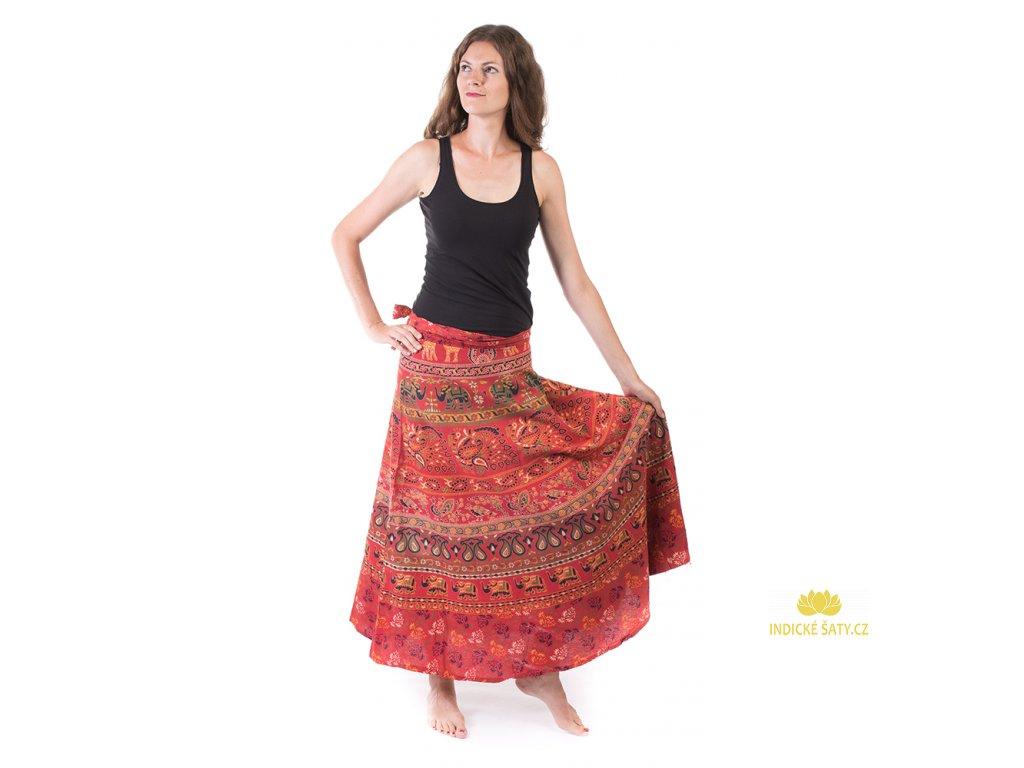 Bavlněná zavinovací sukně s ručním tiskem červená