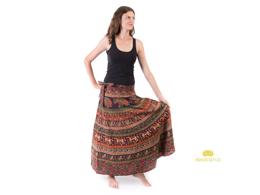 Bavlněná zavinovací sukně s ručním tiskem hnědá