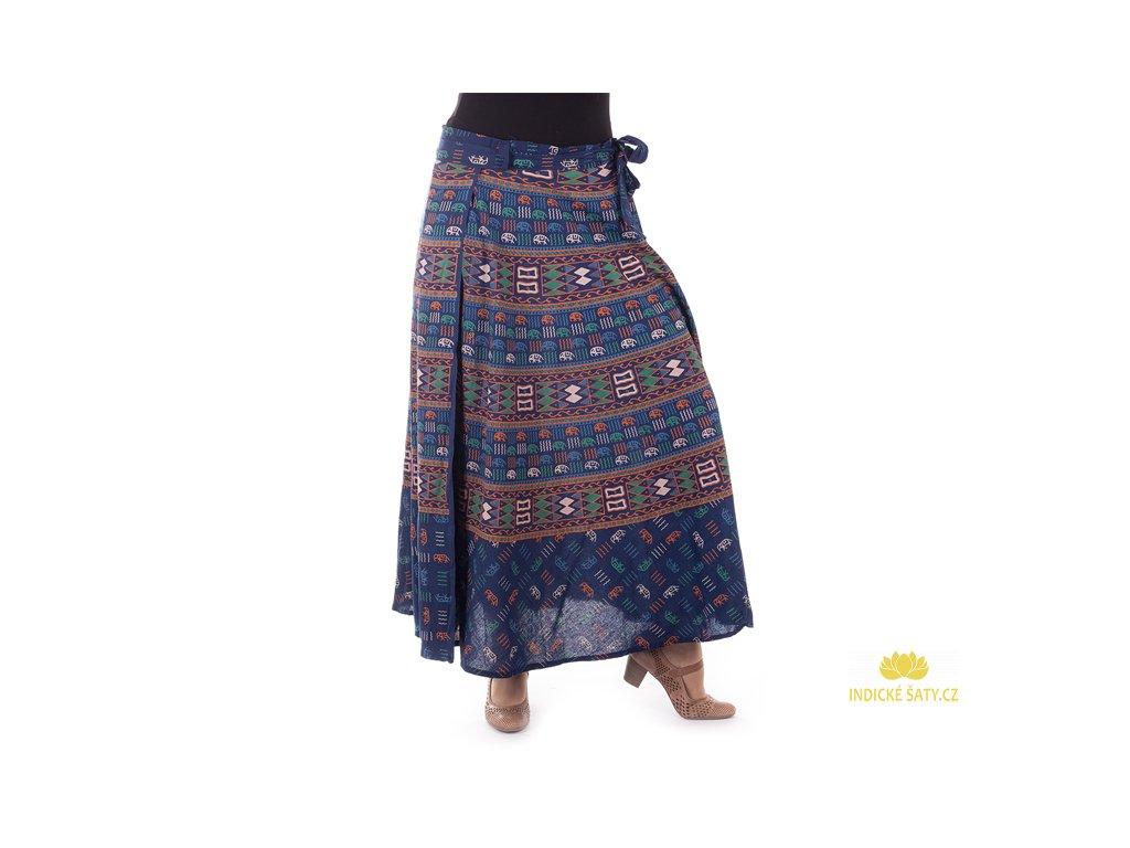 Bavlněná zavinovací sukně s ručním tiskem modrá
