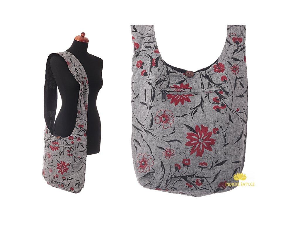 Látková taška přes rameno Květiny šedá