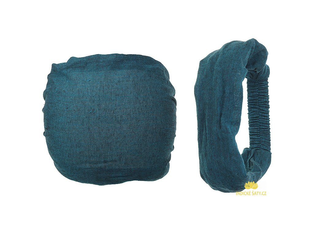 Látková čelenka do vlasů petrolejově modrá