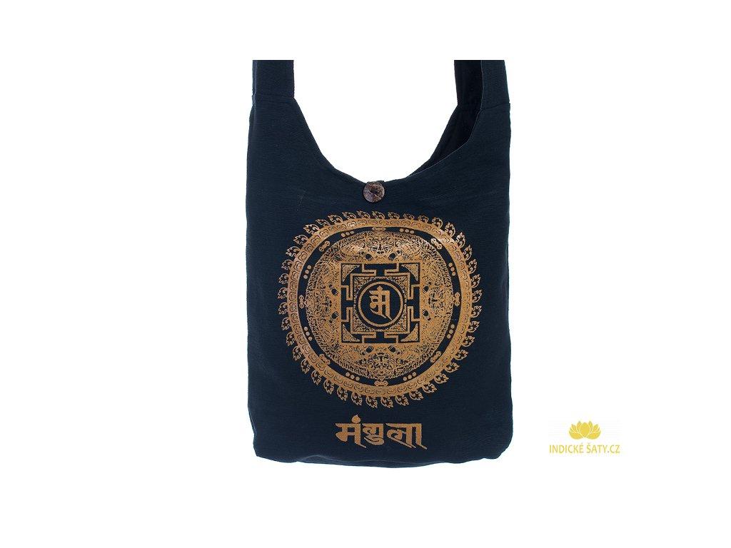 Látková taška přes rameno Gold&Black Mandala