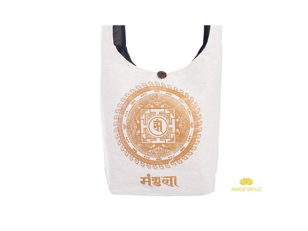 Látková taška přes rameno Gold&Nature white Mandala