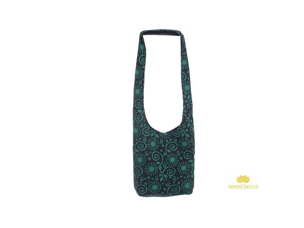 Látková taška přes rameno Květiny černo zelená