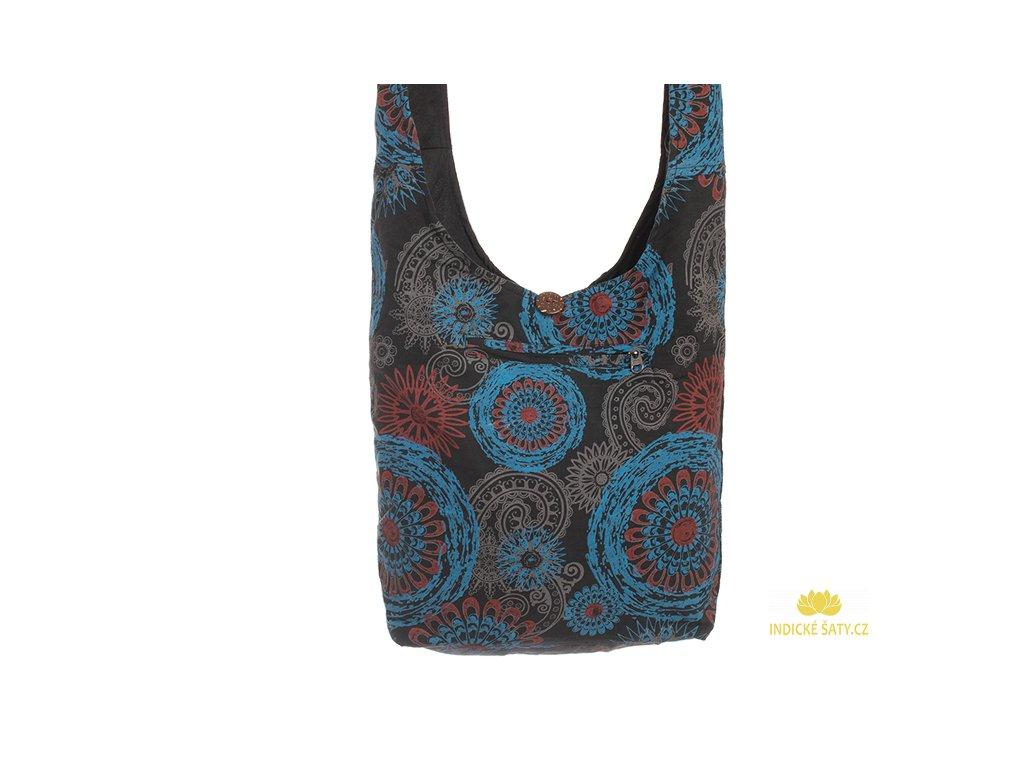 Látková taška přes rameno Mandaly modročerná