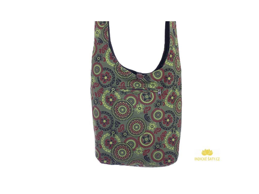 Látková taška přes rameno Mandalky a květiny zelená