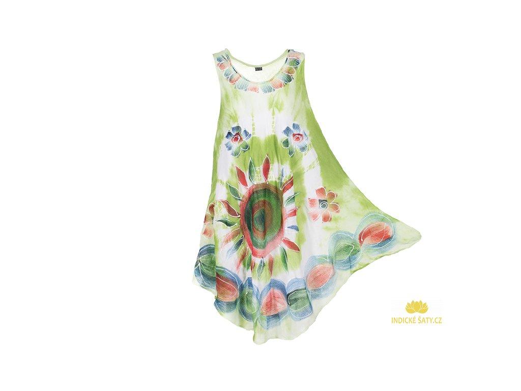 Ručně malované zelené šaty se slunečnicí