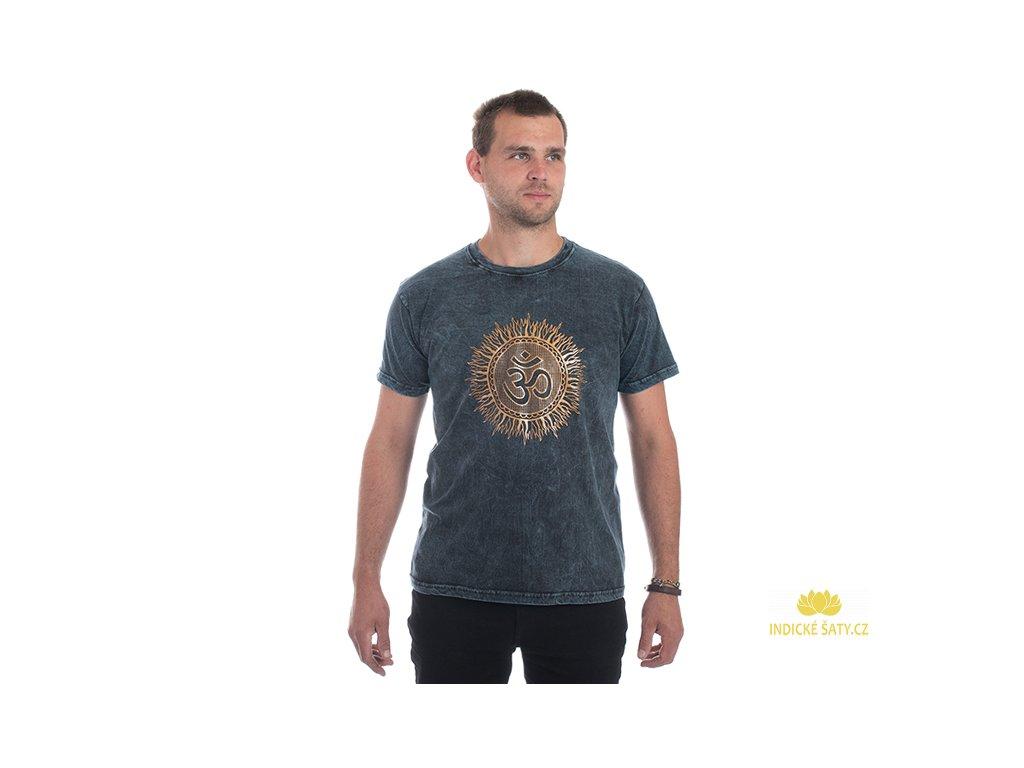 Pánské tričko stonewash Óm modré
