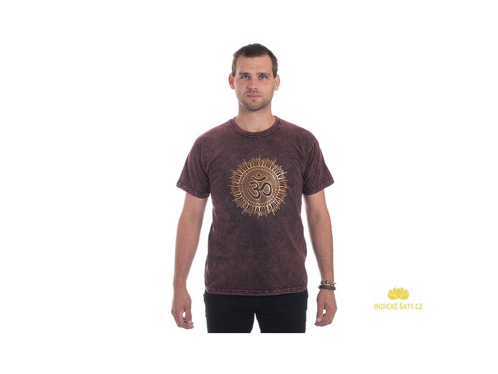 Pánské tričko stonewash Óm vínové