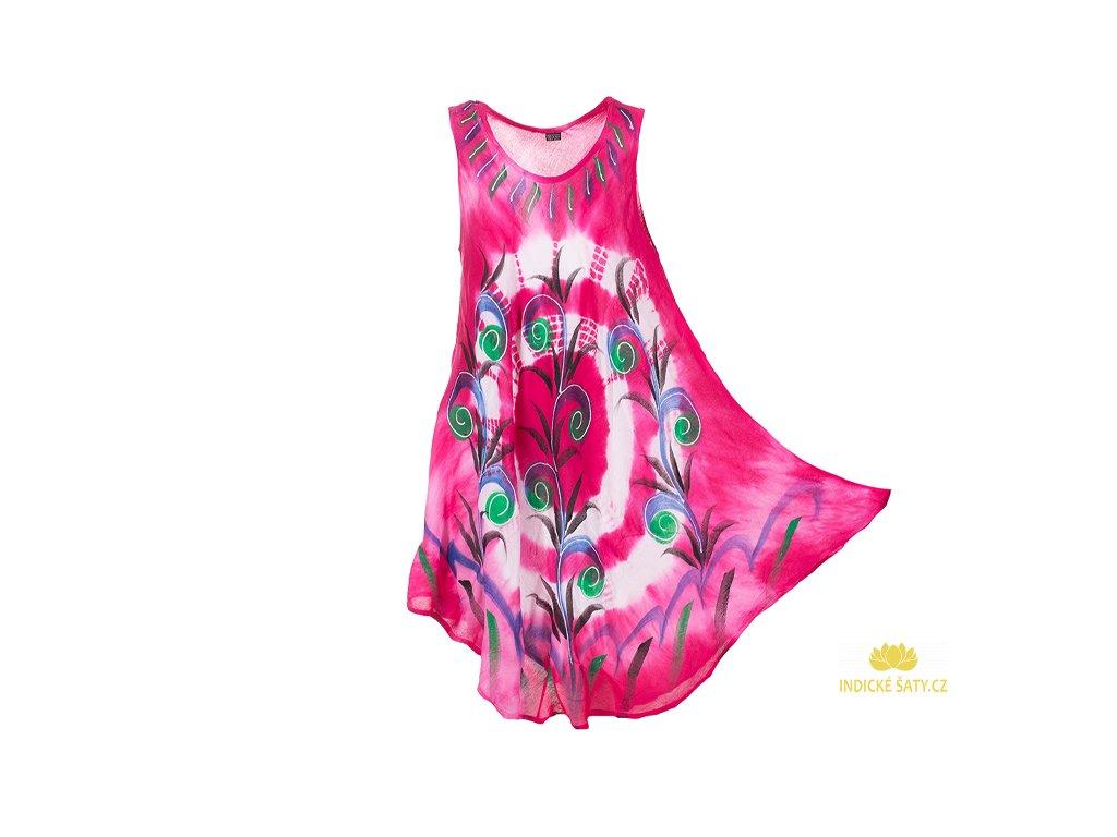 Ručně malované fuchsiové šaty s květinami