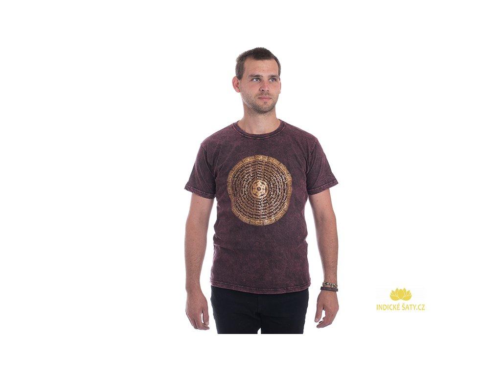 Pánské tričko stonewash Mandala vínové
