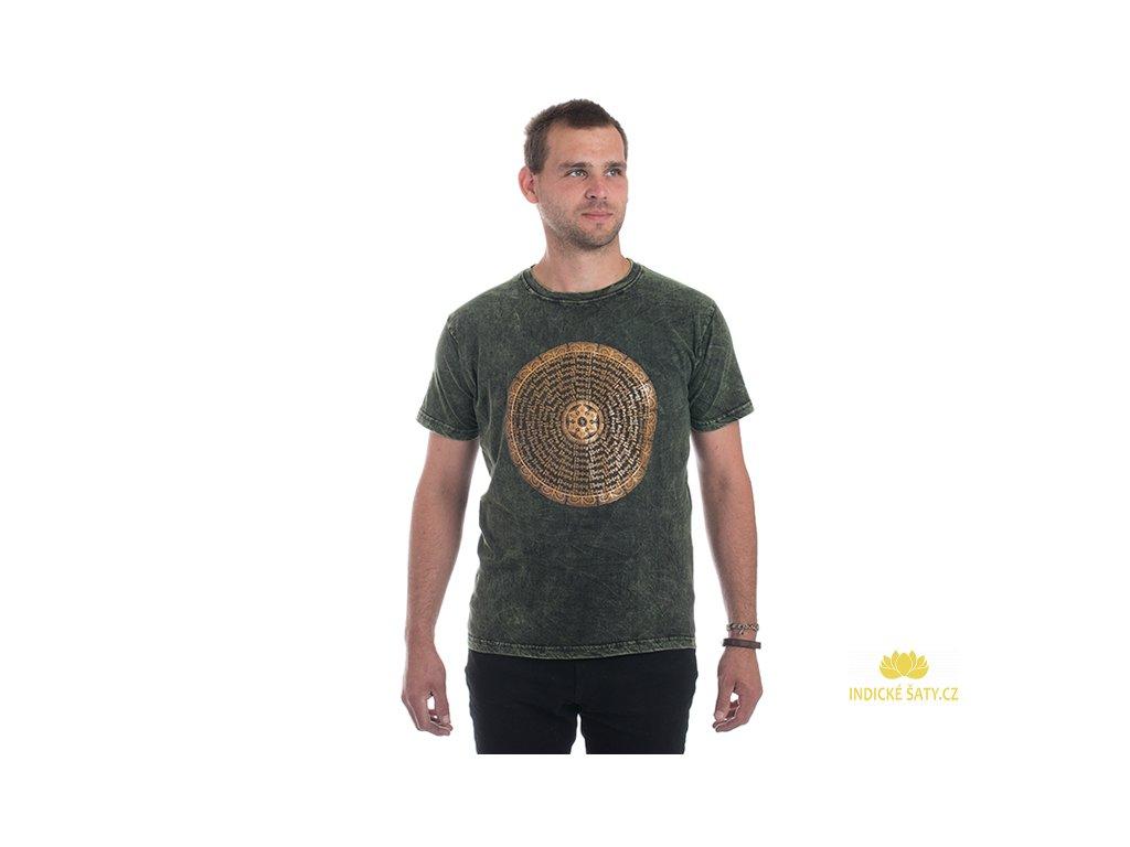 Pánské tričko stonewash Mandala zelené