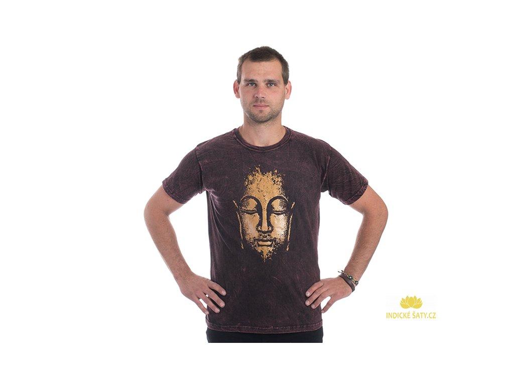 Pánské tričko stonewash Buddha vínové
