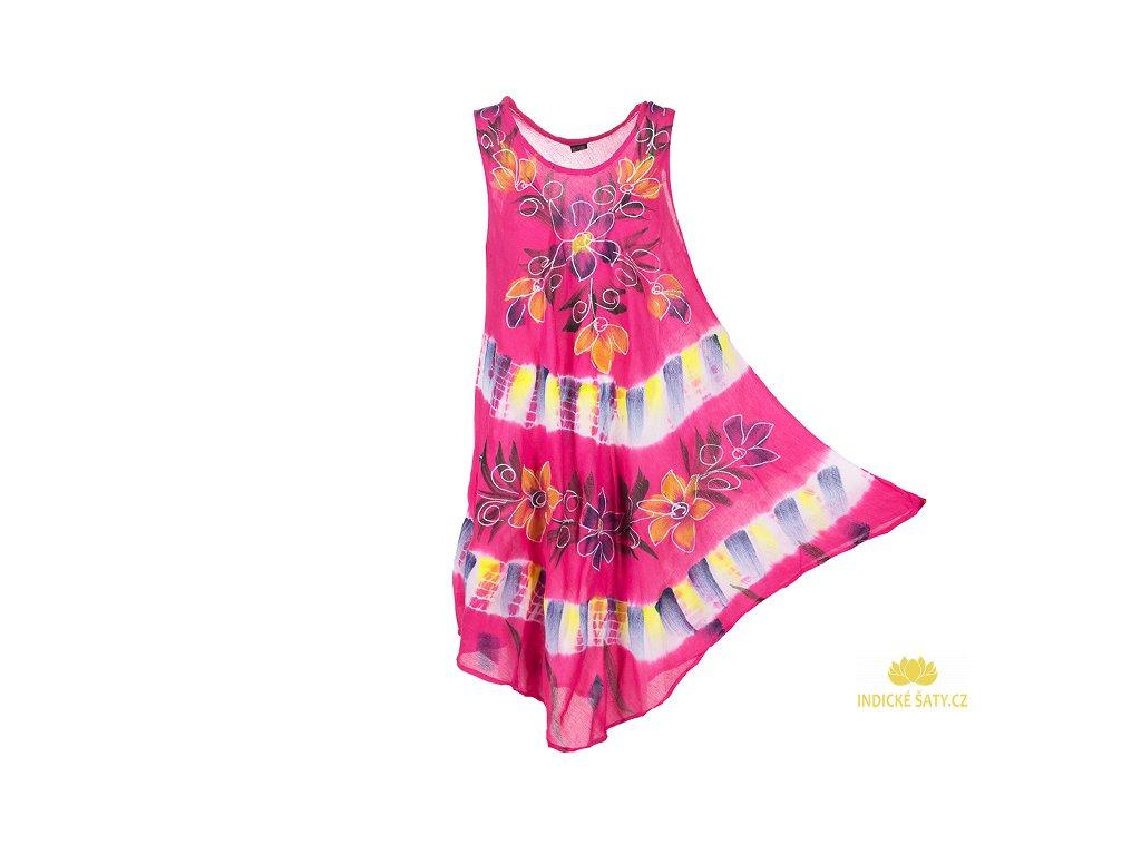 Ručně malované fuchsiové šaty s květy