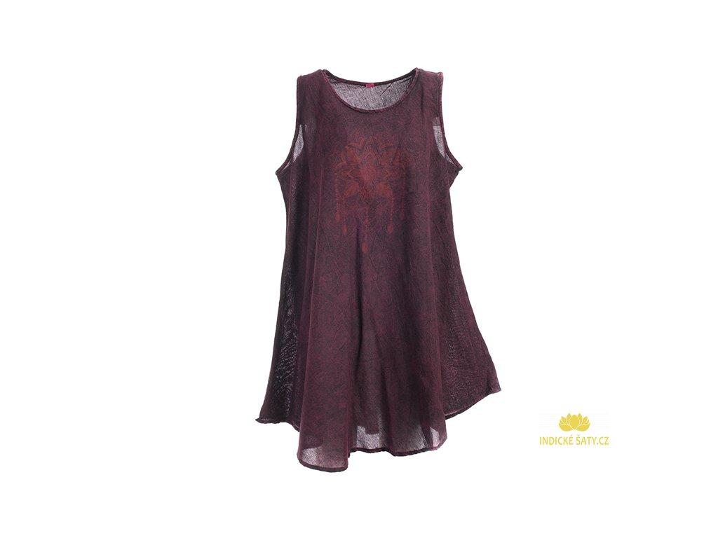 Bavlněné šaty Lapač snů vínově červené