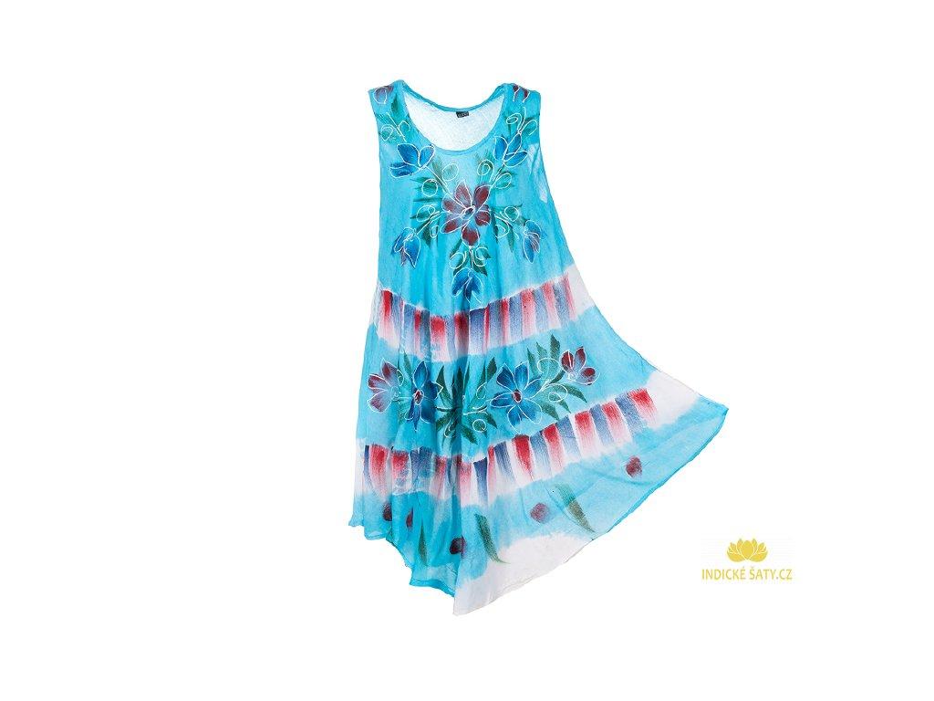 Ručně malované modré šaty s květy