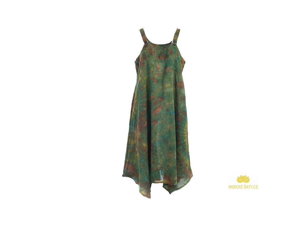 Batikované šaty na ramínka zelenkavé