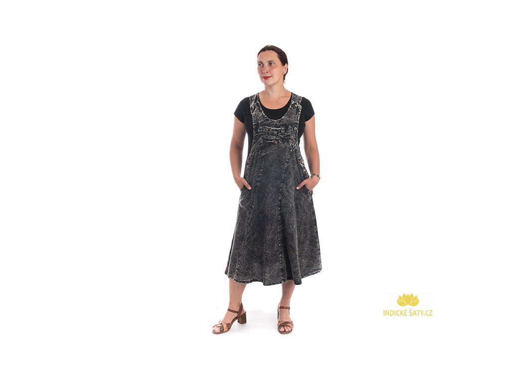 Originální šaty s laclem černé
